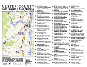 Map of Ulster County Food Pantries, Soup Kitchens and UCAT bus lines, developed by UlsterCorps, Ulster BOCES New Visions Health Career Explorations Students and Ulster County Winter Watch. Thanks to Bob DiBella of UCAT and our generous sponsors PDQ Printing & Graphics and Lifebridge Foundation, these will be displayed on all UCAT buses.