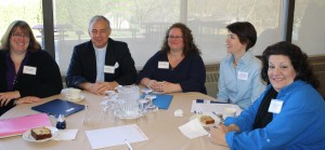 Erica Wagner, SUNY New Paltz, Rev. Duncan Burns, Angel Food East, Diane Reeder, Queens Galley, Sarah Urech, Oncology Support Program, and Victoria Langling, Markertek/Daily Bread Soup Kitchen at UlsterCorps Service Summit. Photo: Nicci Cagan, From the Ground Up