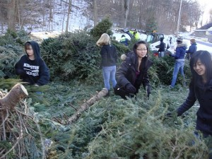 Kingston High School students assisted with Tree Chipping Saturday, January 16th