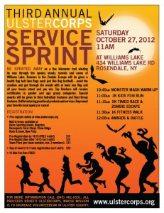 Third Annual UlsterCorps Service Sprint Saturday October 27, 2012 at Williams Lake, Rosendale