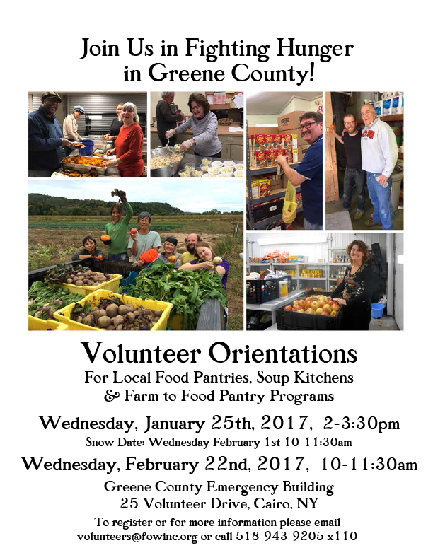 Volunteer Orientation for local Food Pantries + Feeding Programs