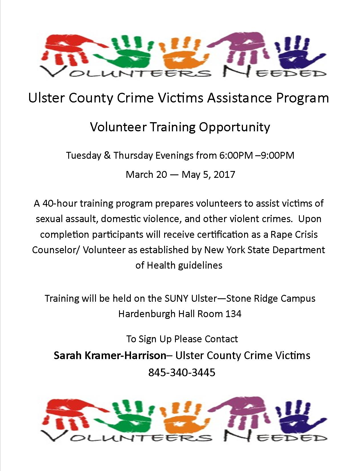Uc Crime Victims Assistance Program Volunteer Training Ulstercorps
