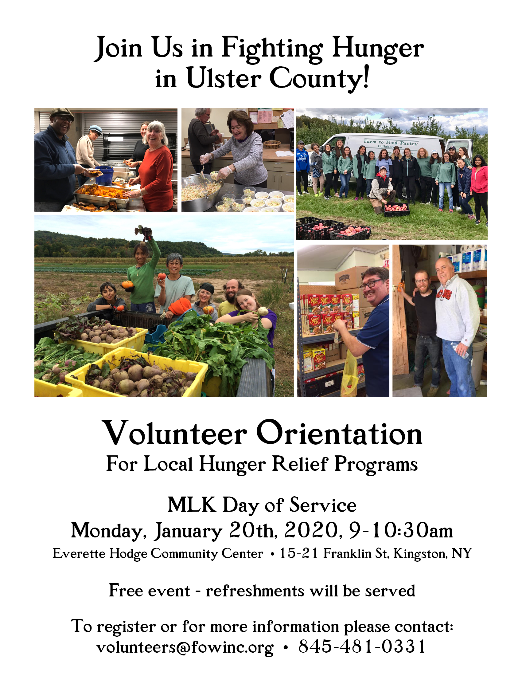 MLK Day of Service Volunteer Orientation for local hunger relief programs